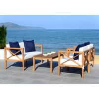 Safavieh Nunzio White/Navy 4 Pc Outdoor Set With Accent Pillows - PAT7031A
