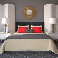 Diamond Tufted Wales Black Headboard - Twin