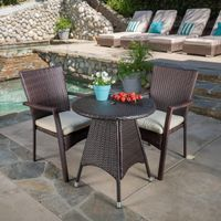 Georgina Outdoor 3-piece Wicker Bistro Set with Cushions by Christopher Knight Home - Multi-brown
