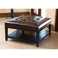 Abbyson Manchester Dark Brown Leather Square Coffee Table Ottoman - Brown