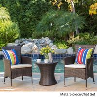 3-piece Outdoor Wicker Chat Set with Cushions by Christopher Knight Home - Malta 3-piece Chat Set