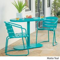 Santa Monica Outdoor 3-Piece Oval Bistro Chat Set by Christopher Knight Home - Matte Teal