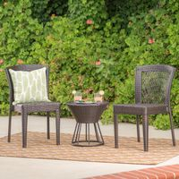 Remy Outdoor 3-Piece Wicker Stacking Chair Chat Set by Christopher Knight Home - Multi-brown