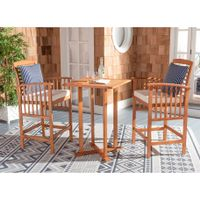 Safavieh Outdoor Living Pate 3Pc Bar Height Bistro Set - Natural/Beige/Navy