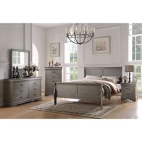 Acme Furniture Louis Philippe Antique Grey 4-Piece Sleigh Bedroom Set - 4-Piece Full Set