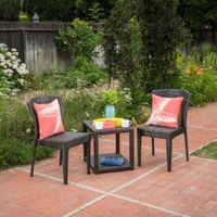 Avery Outdoor 3-piece Square Wicker Bistro Chat Set by Christopher Knight Home - Multi-Brown