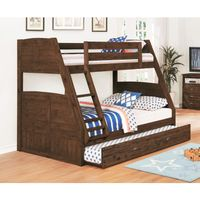 Solid Acacia Hardwood Twin/Full Bed with Twin Trundle in Chestnut