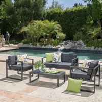 Navan Outdoor 4-piece Aluminum Conversation Set with Grey Cushions - Black with Dark Grey Cushions