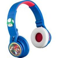 iHome - eKids Super Mario Wireless Over-the-Ear Headphones - White/Red/Blue
