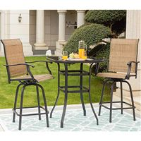 LOKATSE HOME 3 Piece Outdoor Patio Bistro Set Bar Height with Table and Chairs, Beige-3pc