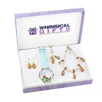 Easter Gold 4-piece Watch-Bracelet-Necklace-Earrings Jewelry Set - Pink