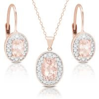 Dolce Giavonna Rose Gold Over Silver Morganite and Diamond Accent Earring, Pendant Or Set - Necklace and Earring Set