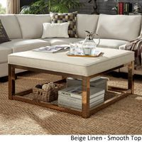 Solene Square Base Ottoman Coffee Table - Champagne Gold by iNSPIRE Q Bold - [Beige Linen]- Smooth Top