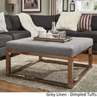Solene Square Base Ottoman Coffee Table - Champagne Gold by iNSPIRE Q Bold - [Grey Linen]- Dimpled Tufts