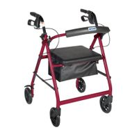 "Red Walker Rollator 6"" Wheels Fold Up Back Padded Seat"