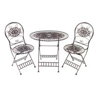 Alpine Corporation Brown Metal Bistro Table-and-chairs Set - Brown