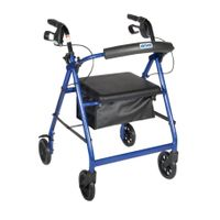 "Blue Walker Rollator 6"" Wheels Fold Up Back Padded Seat"