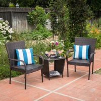 Sarah Outdoor 3-piece Square Wicker Bistro Chat Set by Christopher Knight Home - Multi-Brown