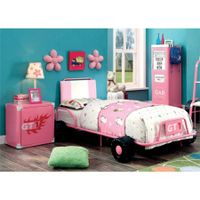 Furniture of America Ramirez Race Car Bedroom Set in Pink