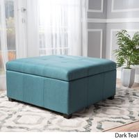 Carlsbad Fabric Storage Ottoman by Christopher Knight Home - Dark Teal