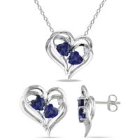 Miadora Sterling Silver Heart-Cut Created Sapphire and Diamond Accent Curvy Heart Birthstone Necklace and Earrings Set