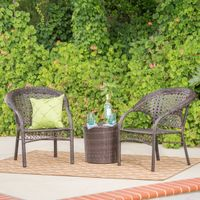 Hamburg Outdoor 3-Piece Wicker Stacking Chair Chat Set by Christopher Knight Home - Multibrown