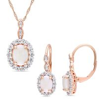 Miadora Signature Collection 14k Rose Gold Opal White Topaz & Diamond Accent Halo Necklace and Leverback Earrings Set
