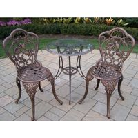 Lattice 3-piece Bistro Set with 24-inch Tempered Glass Top Table and 2 Chairs - Antique Bronze