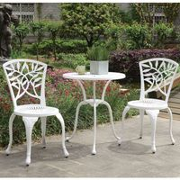 Furniture of America Linz Transitional 3-piece Outdoor Bistro Set - White