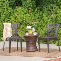 Catskills Outdoor 3-piece Round Wicker Bistro Chat Set by Christopher Knight Home - Multi-Brown