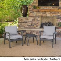 Honolulu Outdoor 3-piece Wicker Chat Set with Cushions by Christopher Knight Home - Grey with Light Grey