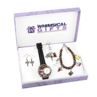 Religious Silver 4-piece Watch-Bracelet-Necklace-Earrings Jewelry Set - Brown