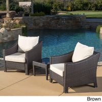 Antibes Outdoor 3-piece Wicker Conversation Set with Cushions - Brown Wicker with Beige Cushions