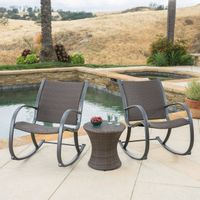 Gracie's Outdoor 3-piece Wicker Bistro Set by Christopher Knight Home - Brown