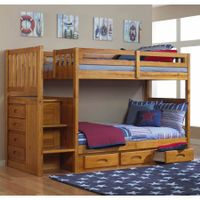 Twin Over Twin Bunk Bed in Honey Finish