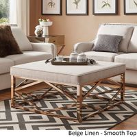 Solene Geometric Base Square Ottoman Coffee Table - Champagne Gold by iNSPIRE Q Bold - [Beige Linen]- Smooth Top