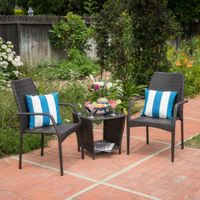 Cookton Outdoor 3-piece Square Wicker Bistro Chat Set by Christopher Knight Home - Multi-Brown