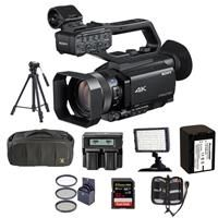 "Sony HXR-NX80 Compact 1"" NXCAM 4K Camcorder - Bundle With Video Bag, 62mm Filter Kit, Spare NP-FV70 Battery, Video Tripod, Video Light, 32GB SDHC U3 Card, Dual charger, Memory Wallet"