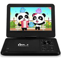 "DR. J 12.5"" Portable DVD CD Player 10.5"" HD Swivel Screen with 5 Hours Rechargeable Battery, Region-Free Video Player with Remote Control and AV Cable Sync TV with Car Charger"