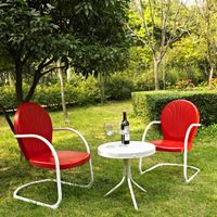 Griffith 3 Piece Metal Outdoor Conversation Seating Set - Two Chairs in Red Finish with Side Table in White Finish - Red