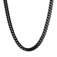 Men's Black-plated Stainless Steel Wheat Chain Necklace (6mm) - 30 Inch