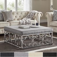 Solene Chrome Quatrefoil Base Square Ottoman Coffee Table by iNSPIRE Q Bold - Dark Brown PU - Button Tufts