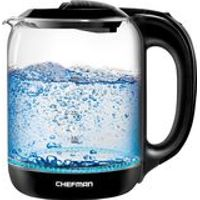 CHEFMAN - Chefman 1.7 Liter Electric Glass Tea Kettle  Fast Heating Boiler  Swivel Base  Cordless Pouring  BPA Free  Auto Shut-Off - Black