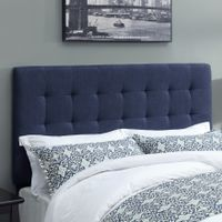 Biscuit Denim Darkwash Fabric, Foam, and Hardwood Upholstered Buttonless Tufted Headboard - King/California King