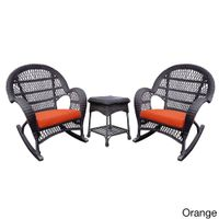 Santa Maria Espresso Rocker Wicker Chair And End Table Set with Cushions - Orange