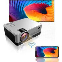 QWERU Projector-002 Indoor Outdoor Portable Phone Projector with Synchronize Smart Screen Full HD 1080P Supported and 200''Display, 5500 Lux WiFi, Compatible with PS4, HDMI, VGA, SD, AV, USB, Silver