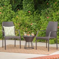 Whitney Outdoor 3-Piece Wicker Stacking Chair Chat Set by Christopher Knight Home - Multibrown