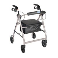 "Silver Walker Rollator 6"" Wheels Fold Up Back Padded Seat"