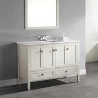 WYNDENHALL Windham 48 inch Contemporary Bath Vanity with White Engineered Quartz Marble Top - Pure White