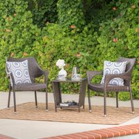 Jenning Outdoor 3-Piece Wicker Stacking Chair Chat Set by Christopher Knight Home - Multibrown